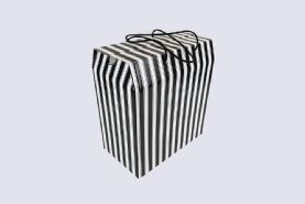 Black and White Striped Satchel Style In-Flight Hat Box